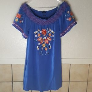 Miss Me blue crepe dress w/ Embroidered front